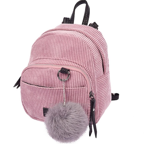 58d45fcd84f7 Handbags - PINK CORDUROY MINI BACKPACK   RABBIT FUR KEYCHAIN