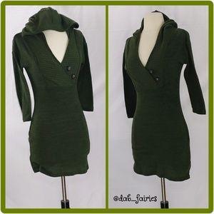 Green Sweater dress w/ hoodie