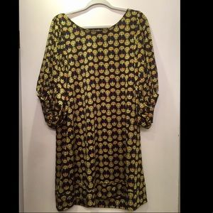 Vintage 60s mod floral dress black yellow sleeves