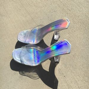 Perspex Heels With Holographic Sole