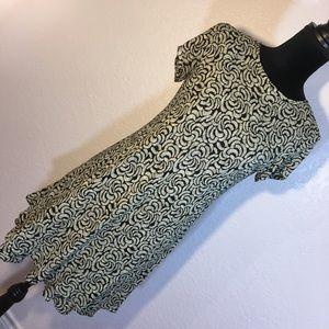 Discretion Black and Tan Print Dress
