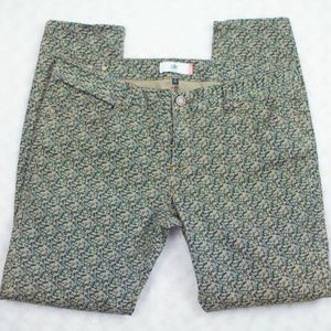 CAbi jeans green blue pink speckles skinny pants