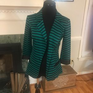 Very chic striped blazer in teal & black- medium