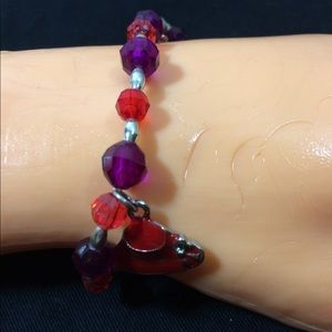 Red, Purple, Silver Red Hat Bracelet by hand3/$15