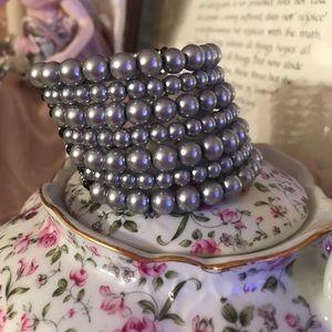 Beautiful gray faux pearl cuff