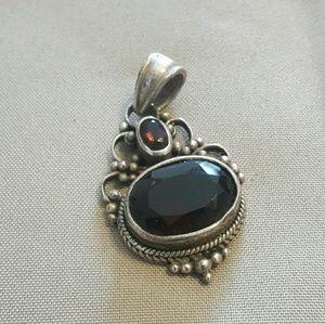 Vintage garnet and sterling pendant