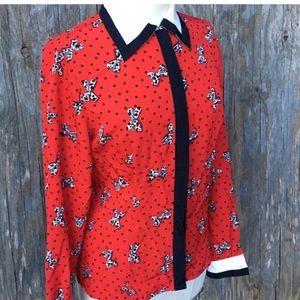 Vintage Dalmatian Bow Polka Dot blouse
