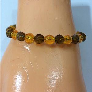 Brown and Orange Beaded Bracelet Handmade 3/$15