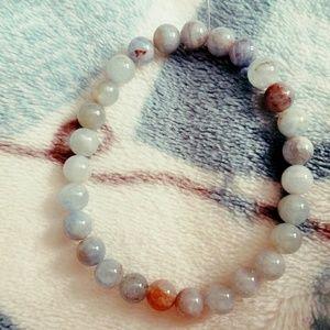 Aquamarine polished bead bracelet