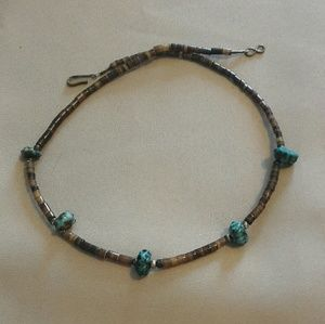 Tribal turquoise and porcupine bead necklace