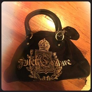 Juicy Couture Bowling Bag Purse-Velour & Leather