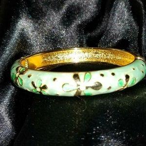 Vintage JTF Gold / Green Hinged Bangle Bracelet