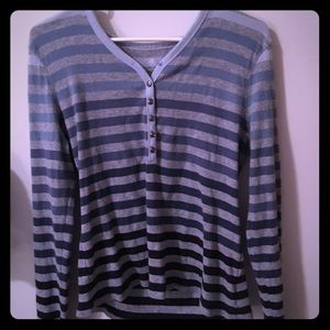 Tops - Blue Ombré Striped Henley Thermal