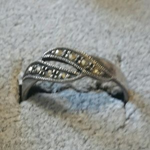 Sterling marcasite wavy band