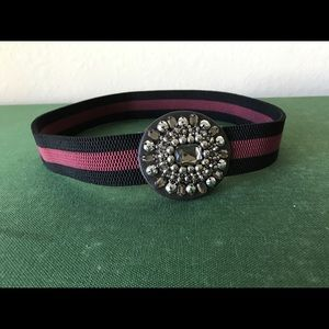 Loft waist stripped belt with jeweled accent