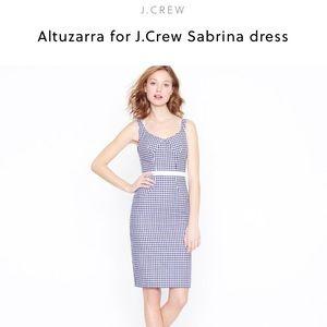 J.Crew by Altuzarra Navy Blue Gingham Dress