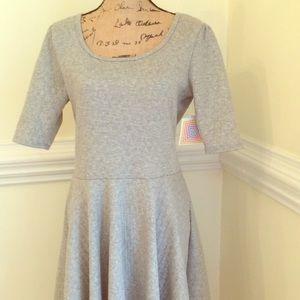 LulaRoe XL Nicole Dress Gray Textured Knit New!