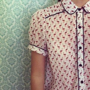 Sheer Flamingo Print Button Down