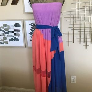 Multicolor strapless dress