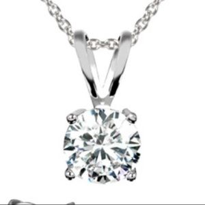 1 Ctw 18 k white gold plated necklace- stunning!