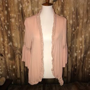 Blush Kimono with Lace Trim and Bell Sleeves
