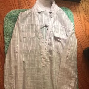 New York and Company sheer white button down M/L