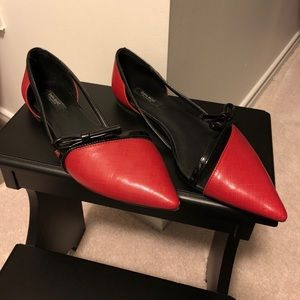 Zara red flats with patent bow accent