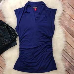 Vince Camuto Royal Blue V-Neck shirred top
