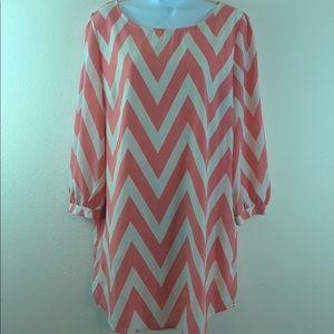 Orange & off white chevron print dress