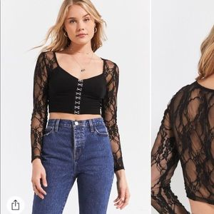 Black lace clip up crop top