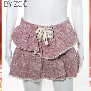 BY ZOE Chic Red/Cream Ruffle Mini Distressed Skirt