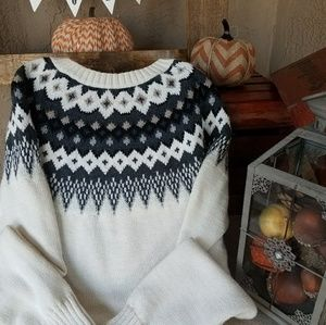 Old Navy White Black Fair Isle Sweater