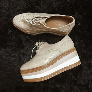 Missguided Shoes - Beige Platform Brogues