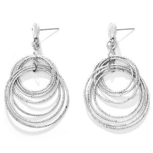 JUST IN: Antique silver double round drop earrings