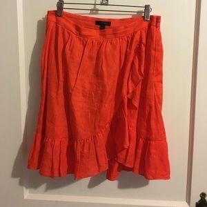 Linen J.Crew Ruffle Skirt