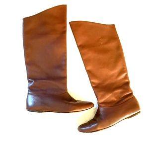 Ann Taylor Mina Flat Boots Brown Vicuna size 7.5