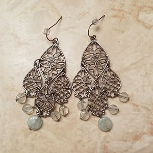 Silver dangly earrings with mint accents