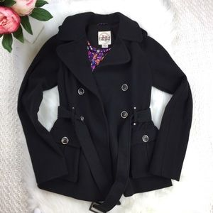 Hydraulic Black Belted Winter Pea Coat