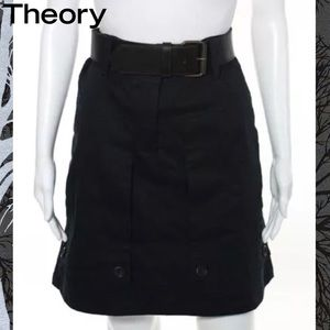 THEORY Chic Black Belted Pocket Detailed Skirt