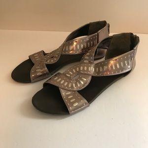 Target Metallic Flat Sandals Slide on with Zipper