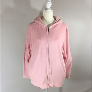 Cotton couture velour jacket hoodie 2X pink