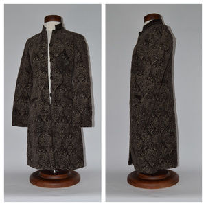 {Johnny Was} Brown Embroidered Long Jacket
