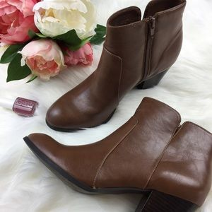 Franco Sarto Brown Ankle Booties with side zipper