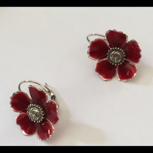 Brighton red floral lever back earrings