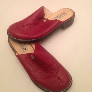 Authentic Brighton Red Leather Clogs