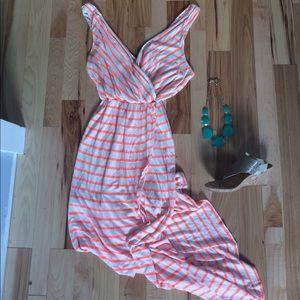 Striped Open Slit Dress