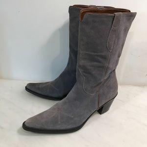 Franco Sarto gray suede cowboy boots, excellent