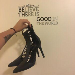 Black strappy cord heels