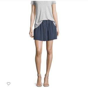 Joie Navy Striped Silk Skirt