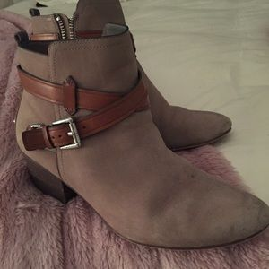 Coach Pauline Booties w/Leather Strap Details